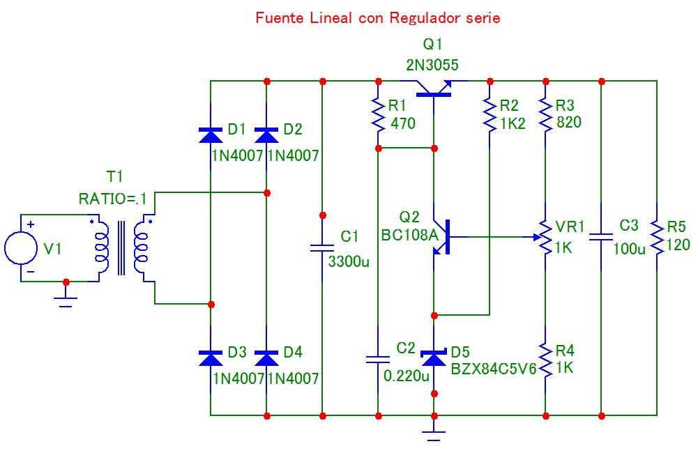 Fuente Lineal con Regulador serie